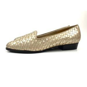 Vintage SELBY gold woven leather flats